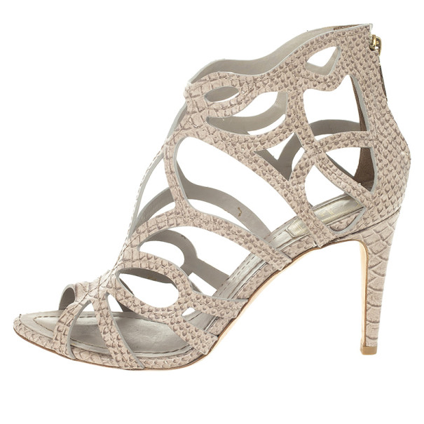 Dior Python Embossed Paradis Cutout Sandals Size 37.5