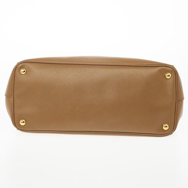 Prada Brown Saffiano Lux Leather Double Zip Medium Tote