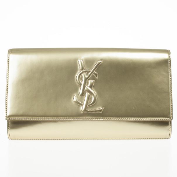 Yves Saint Laurent Gold Patent 'Belle De Jour' Flap Clutch