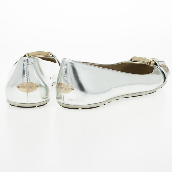 Jimmy Choo Silver Metallic Morse Ballet Flats Size 37