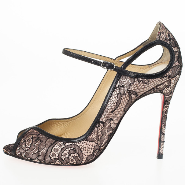 Christian Louboutin Lace 1EN8 Mary Jane Pumps Size 37.5