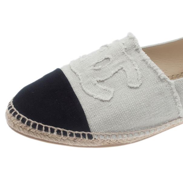 Chanel Black & White CC Canvas Espadrilles Size 45