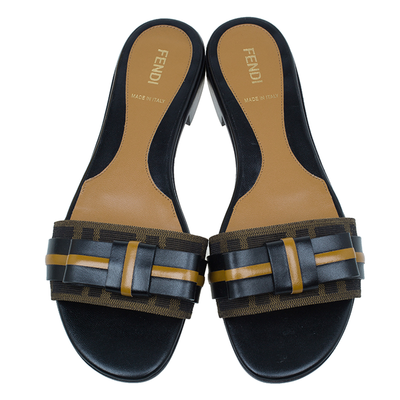 Fendi Tobacco Zucca Canvas and Leather Pride and Prejudice Bow Flat Slides Size 38