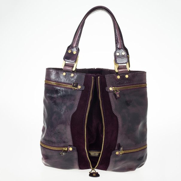Jimmy Choo Purple Liquid Patent Leather and Suede Mona Tote Bag