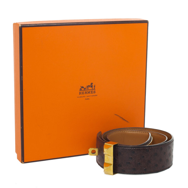 Hermes Brown Collier De Chien Ostrich Belt Size 70