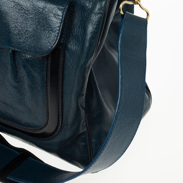 Balenciaga Black and Teal Leather Lune Tote