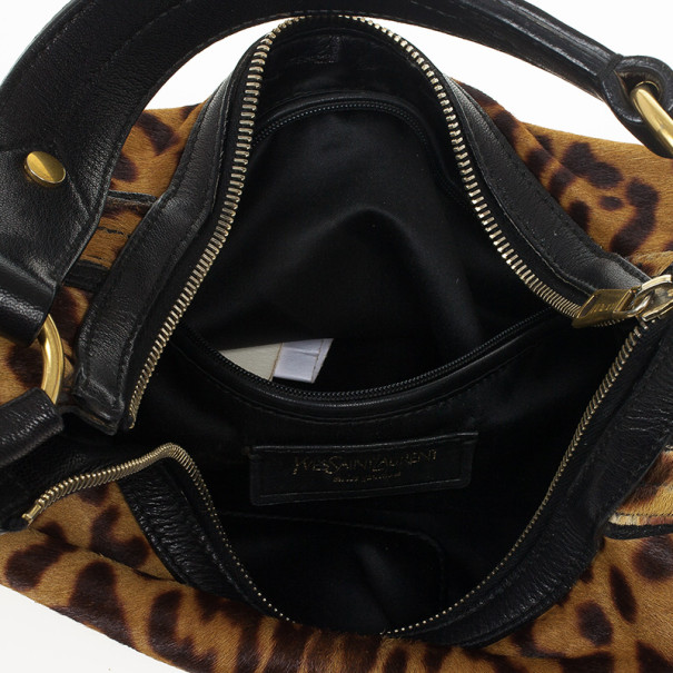 Saint Laurent Paris Leopard Print Calf Hair Hobo