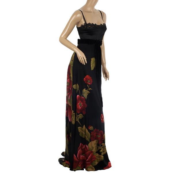 Elie Saab Floral Print Black Gown S