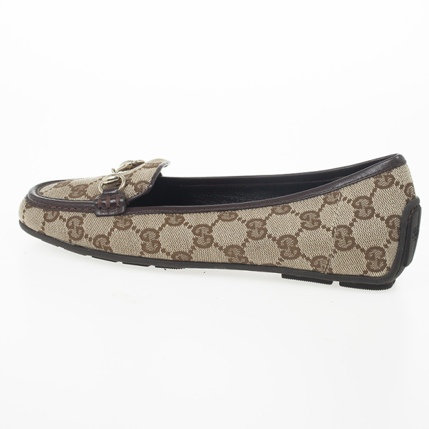 Gucci Guccissima Canvas Horsebit Loafers Size 35