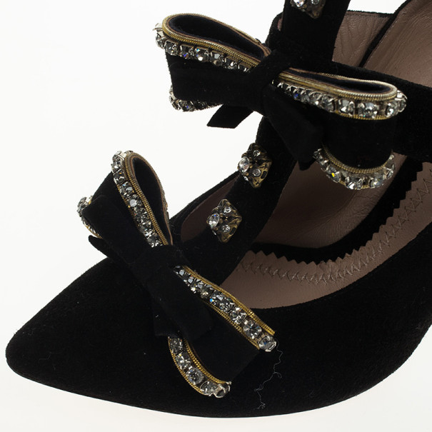 Chloe Black Suede Crystal Studded Cage Pumps Size 36