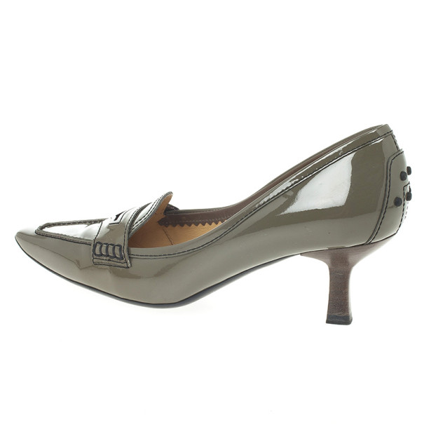 Tod's Grey Patent Pointed Toe Penny Loafer Pumps Size 37