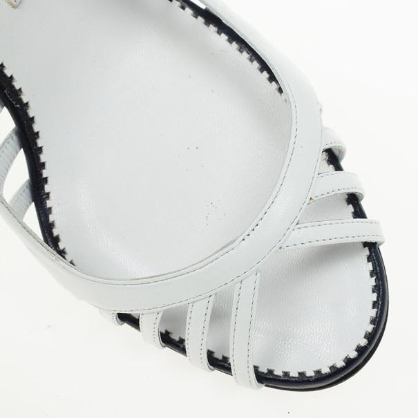Manolo Blahnik White & Navy Leather Slingback Sandals Size 37