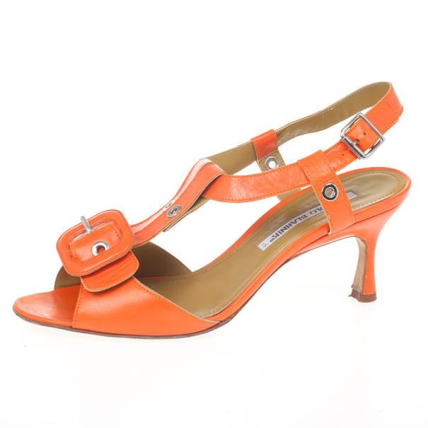 Manolo Blahnik Orange Leather Buckle T Strap Sandals Size 36.5