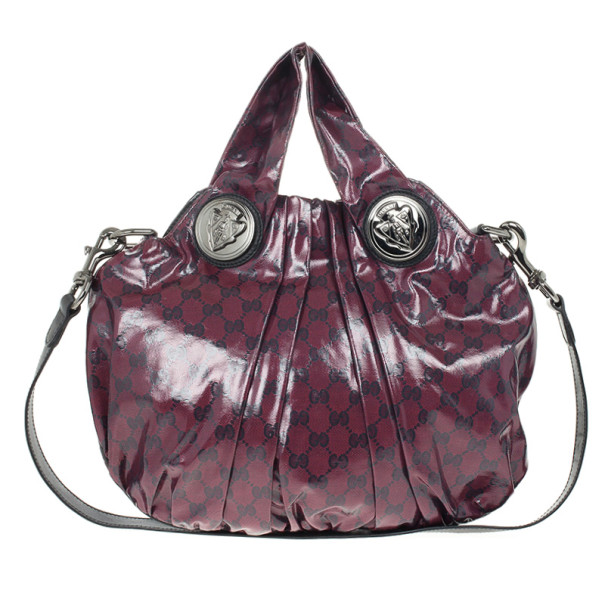Gucci Maroon Crystal Monogram Small Hysteria Top Handle Bag