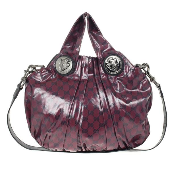 Gucci Maroon Crystal Monogram Small Hysteria Top Handle Bag