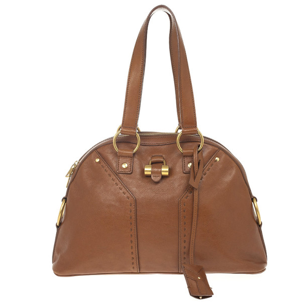 Yves Saint Laurent Brown Leather Medium Muse Bag