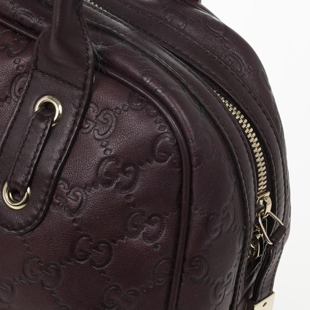 Gucci Dark Brown Leather Guccissima Princy Boston Bag