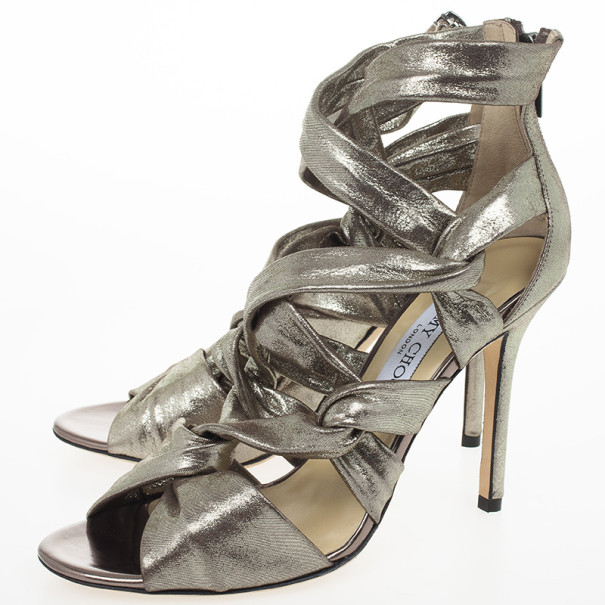 Jimmy Choo Metallic Suede Knotted Kemble Sandals Size 38