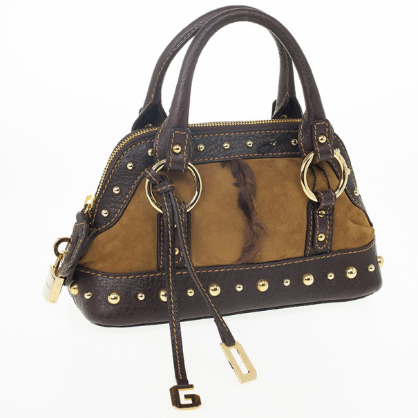 Dolce and Gabbana Brown Suede and Fur Studded Satchel