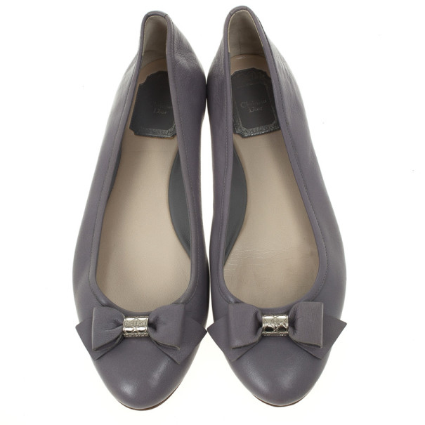 Christian Dior Light Grey Leather 'So Dior' Ballet Flats Size 38.5