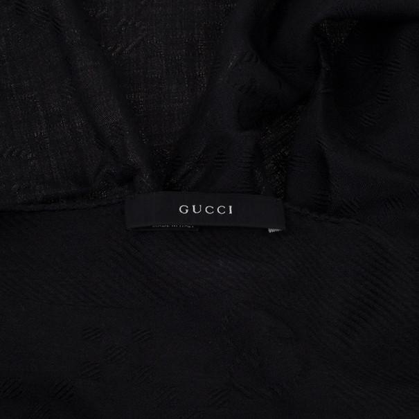 Gucci Guccissima Black Wool & Silk Scarf