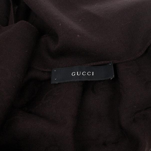 Gucci Guccissima Brown Wool & Silk Scarf
