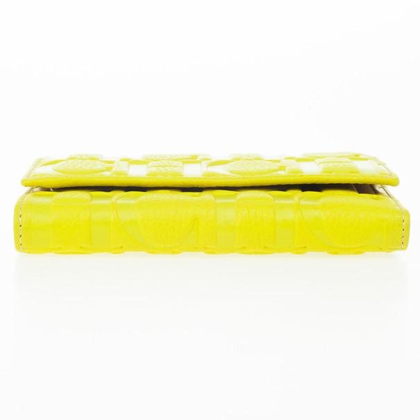 Carolina Herrera Yellow Monogram Compact Wallet