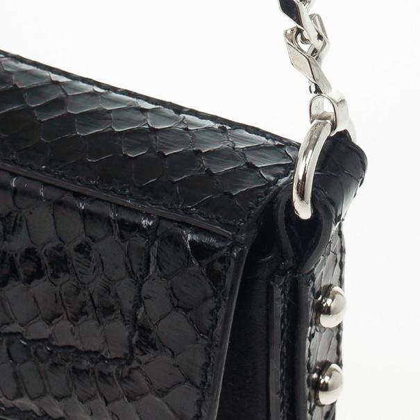 Dolce and Gabbana Black Python and Satin Pochette
