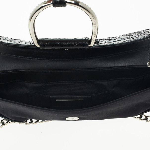 Dolce and Gabbana Black Python and Satin Pochette