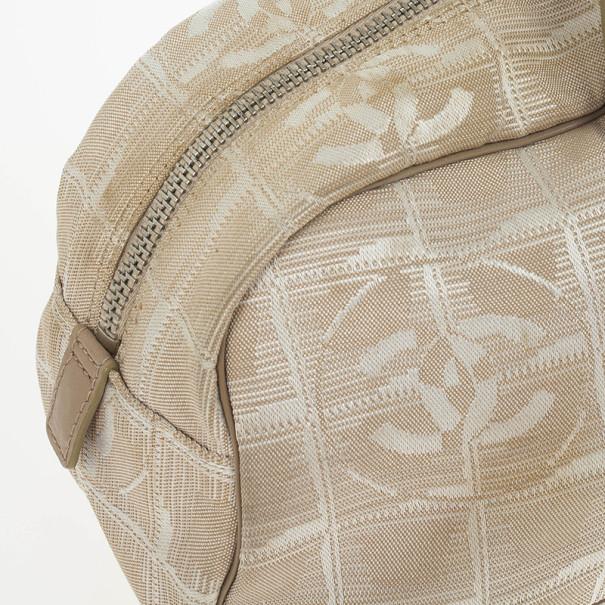 Chanel Beige Nylon CC Logo Travel Line Satchel Bag