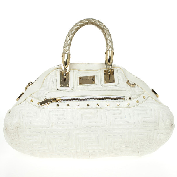 Versace White Leather Domed Satchel
