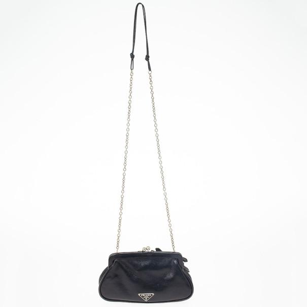 Prada Black Leather Kisslock Mini Frame Satchel Bag