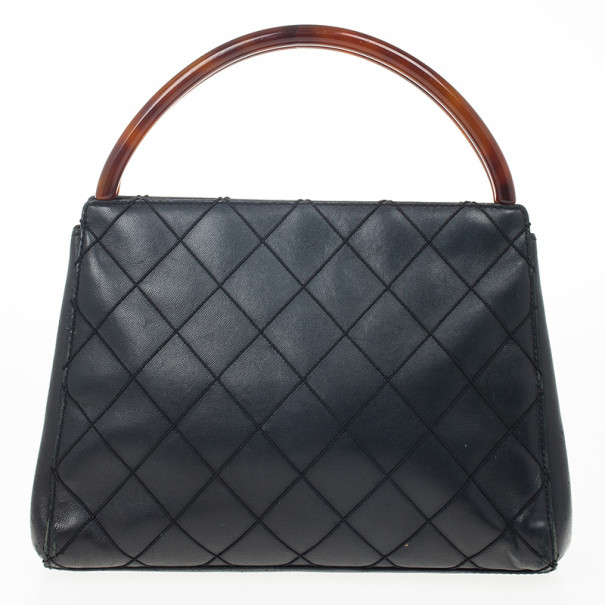 Chanel Vintage Black Quilted Tortoise Handle Small Tote