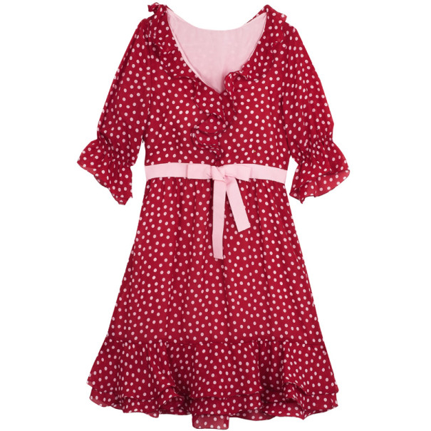 Red Valentino Ruffle Polka Dot Dress Xs Nextprev Prevnext
