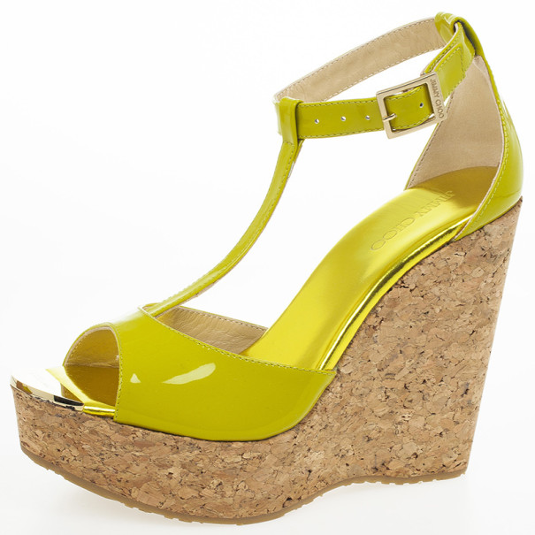 Jimmy Choo Lime Green Patent Leather Pela Cork Wedge Sandals Size 38