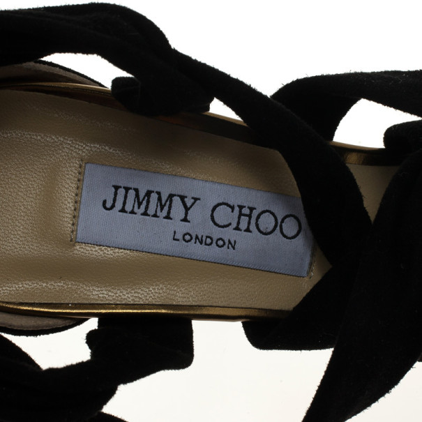 Jimmy Choo Black 'Kami' Knotted Suede Sandals Size 39.5