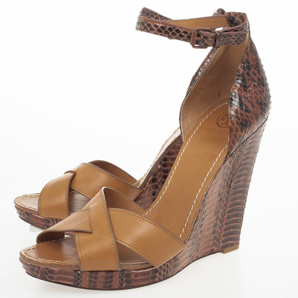 Tory Burch Brown Livia Snakeskin Wedge Sandals Size 40.5