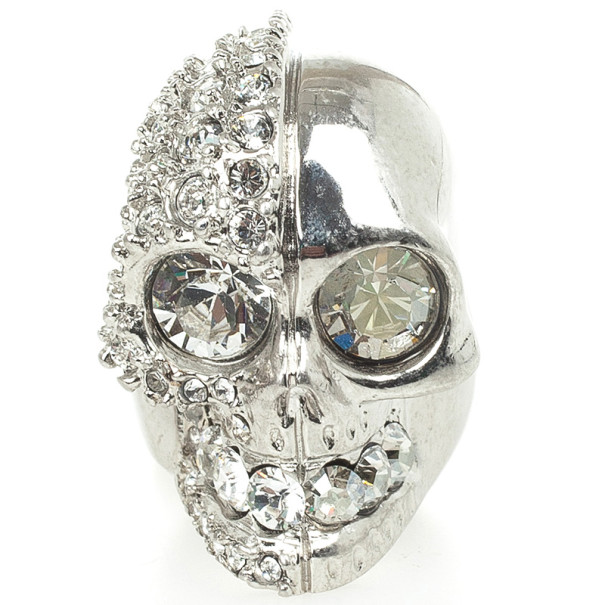 Alexander McQueen Silver Crystal Two-Faced Skull Cocktail Ring Size 52