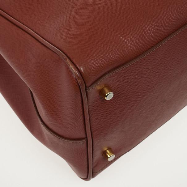 Prada Burnt Orange Saffiano Lux Double-zip Tote Bag