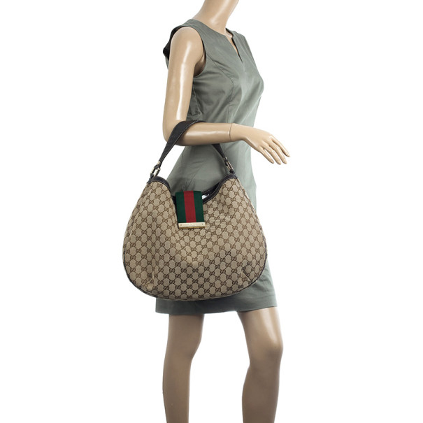Gucci Canvas 'Ladies Web' Large Hobo Handbag