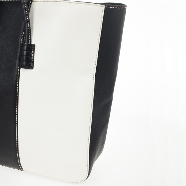 Tod's Large Black and White Paneled Leather Tote