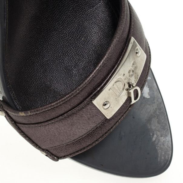 Dior Grey Metallic Leather Lovely Mules Size 39