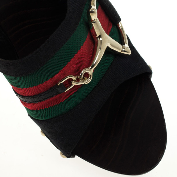 Gucci Black Guccissima 'Icon Bit' Web Detail High Heel Clogs Size 39.5