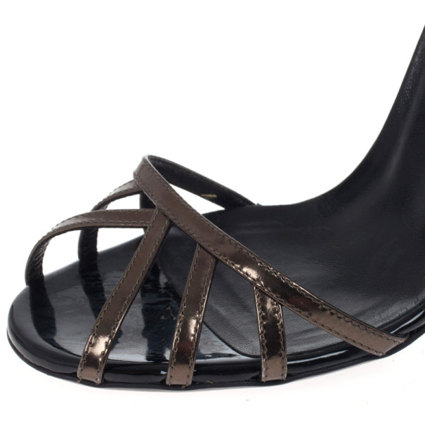 Gucci Metallic Margot Patent Cage Sandals Size 37