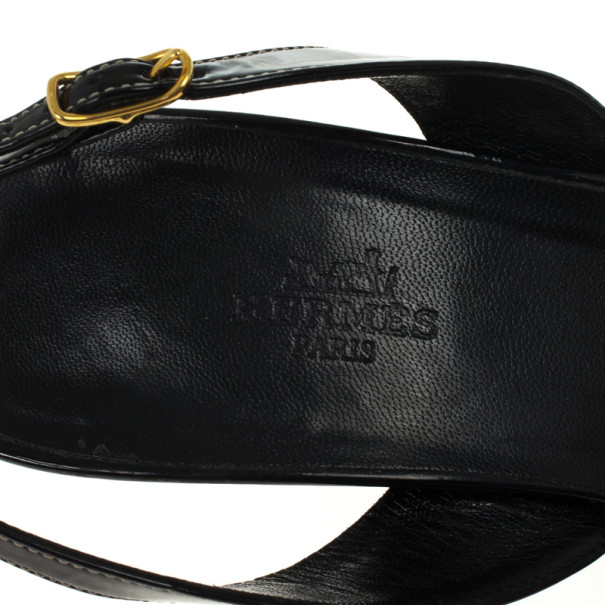 Hermes Black Patent Night Slingback Sandals Size 39