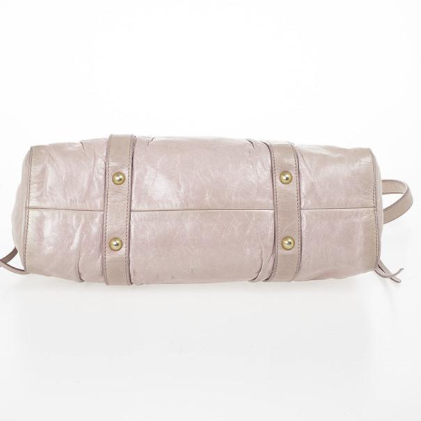 Miu Miu Grey Lux Leather Soft Shopping Top Handle Bag