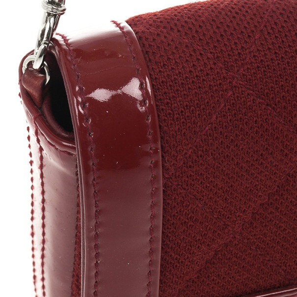 Chanel Dark Bordeaux Quilted Wool and Patent Leather East/West Mademoiselle Flap Bag