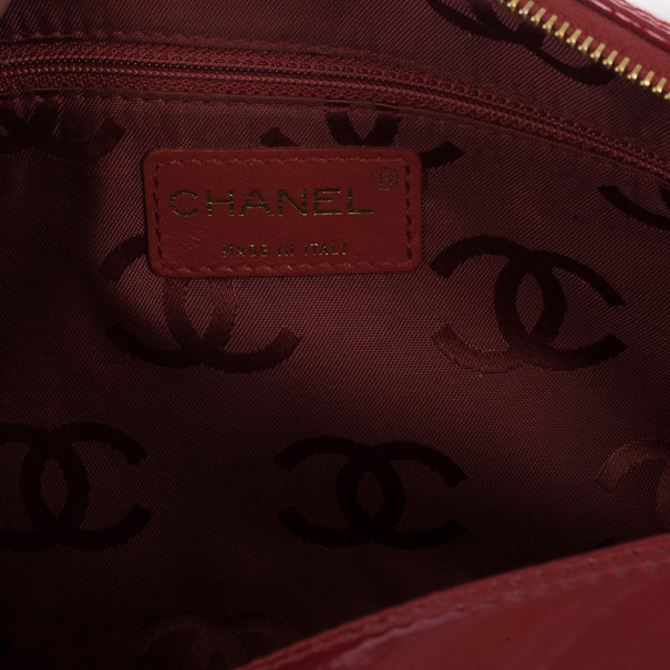 Chanel Red Patent Chocolate Bar Quilted Camera Bag