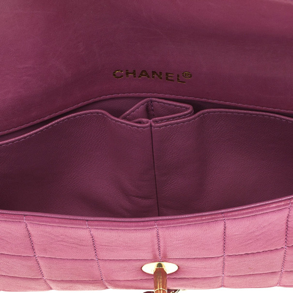 Chanel Pink Chocolate Bar Quilted East West Flap Bag