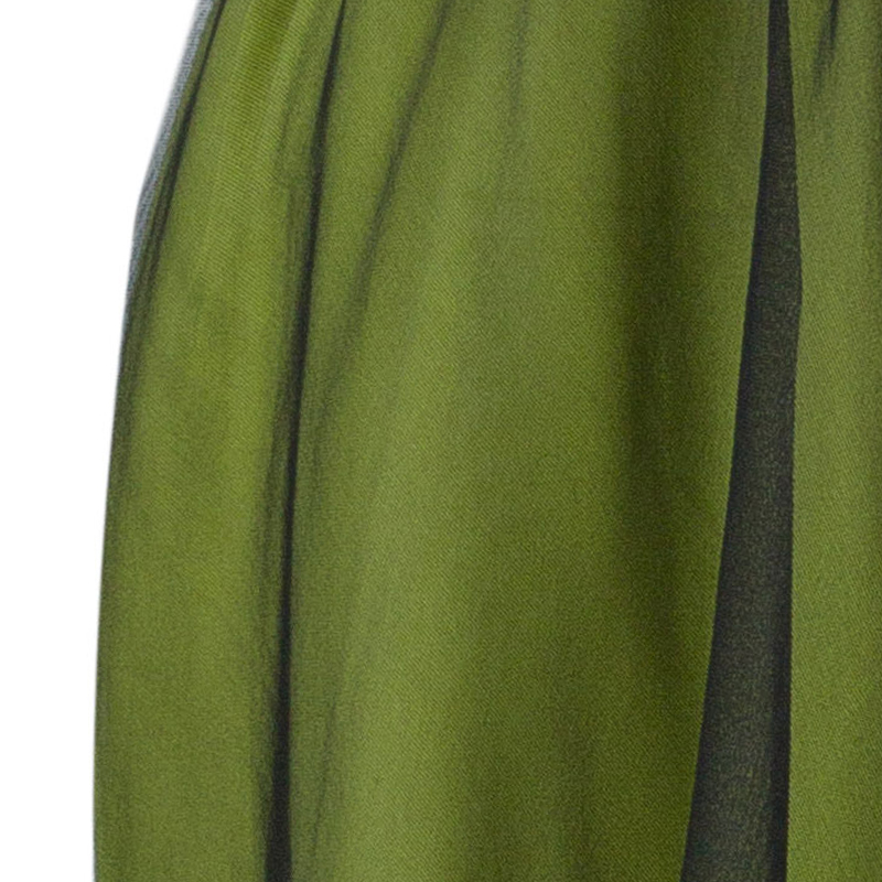 Dolce And Gabbana Green Silk Draped Tulle Dress M